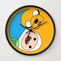 finn and jake Wall Clocks featuring Finn & Jake Yin Yang by bitobots