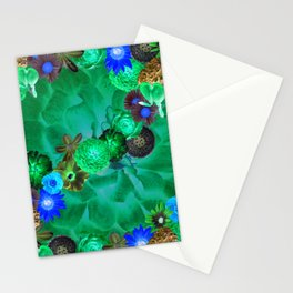 Flower explosion in green and blue Stationery Cards