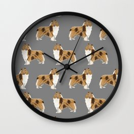Rough Collie pet portrait custom dog breed gifts for collie owner by pet friendly Wall Clock