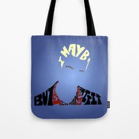 buffy the vampire slayer Tote Bags featuring Spike - Buffy the vampire slayer by Rebecca McGoran