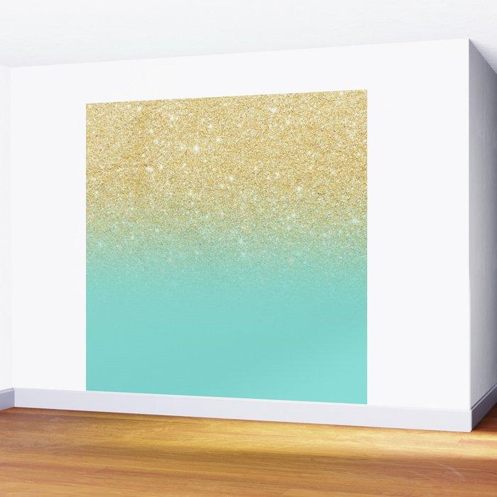 Modern chic gold glitter ombre robbin egg blue color block Wall ...