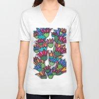 leah flores V-neck T-shirts featuring Flores by Carolina Delleteze