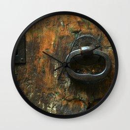 Old Wooden Door with Keyholes Wall Clock