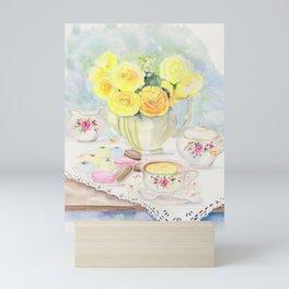 I Love Yellow Roses at Tea Time Mini Art Print