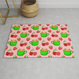 Cute happy playful funny Kawaii baby kittens sitting in little green espresso coffee cups, ripe yummy red summer cherries and strawberries fruity bright pastel coral red design. Rug