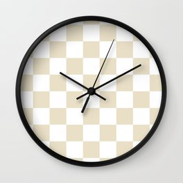 Checkered - White and Pearl Brown Wall Clock