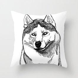 Siberian Husky Portrait Throw Pillow