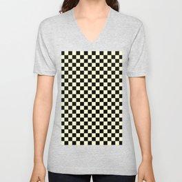 Black and Cream Yellow Checkerboard Unisex V-Neck