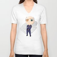 battlestar galactica V-neck T-shirts featuring Colonel Tigh | Battlestar Galactica by The Minecrafteers