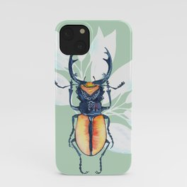 Stag-beetle watercolor iPhone Case