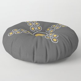Minimalist Flowers Cross Pattern (Spicy Mustard, Charcoal Black) Floor Pillow