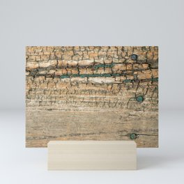 Rustic Wood Turquoise Paint Weathered and Aged to perfection Mini Art Print