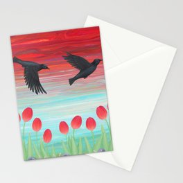 crows, tulips, & snails Stationery Cards