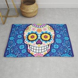 Sugar Skull Art - Psychedelic Day of the Dead Skull Art by Thaneeya McArdle Rug