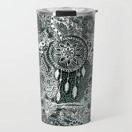 Modern dark green forest watercolor Christmas dream catcher floral doodles Travel Mug