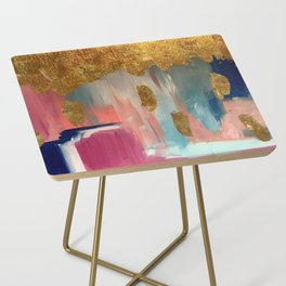 Gold Leaf & Indigo Blue Abstract Side Table