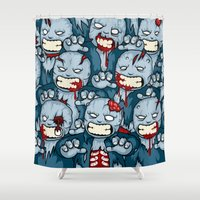 zombies Shower Curtains featuring The Zombies by Yves-José Malgorn