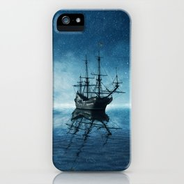 ghost ship blue reflection iPhone Case