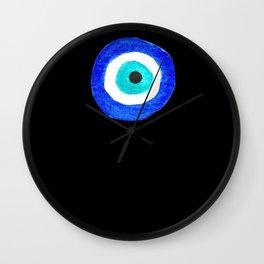 Single Evil Eye Amulet Talisman Ojo Nazar - on black Wall Clock