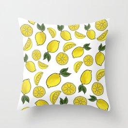Easy Peasy Lemon Squeezy (white) Throw Pillow