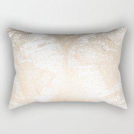 Antique White Gold World Map Rectangular Pillow