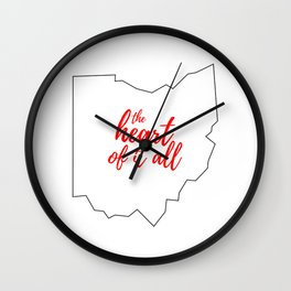 Ohio - The Heart Of It All - White and Red Typography Wall Clock