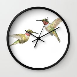 Ruby Throated Hummingbird Watercolor Wall Clock