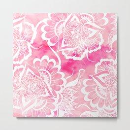 Modern boho pink watercolor white floral mandala  pattern Metal Print