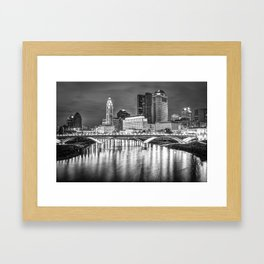 Columbus Ohio Downtown Skyline in Black and White Framed Art Print