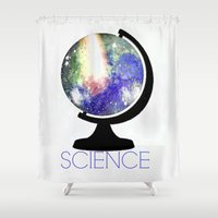 science Shower Curtains featuring Science! by Bunhugger Design