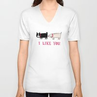 jazzberry blue V-neck T-shirts featuring I Like You. by gemma correll