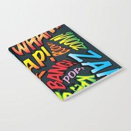Comic Book Typographic Pattern Pop Art Notebook
