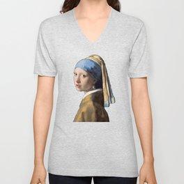 Johannes Vermeer Girl With A Pearl Earring 1665 T Shirt, Art Unisex V-Neck