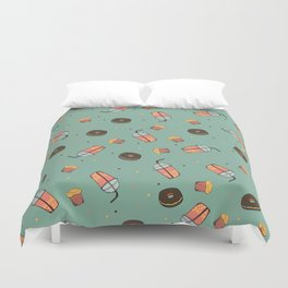 Bubble Tea, Cupcake and Donut Pattern Duvet Cover
