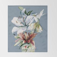 Hummingbird with Flowers Throw Blanket