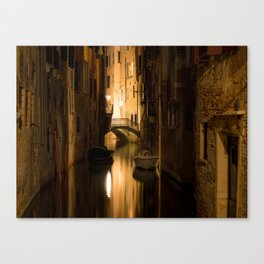 The Canals Of Venice At Night Canvas Print