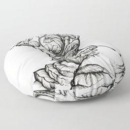 Floral Shroom Torso Pt 2 ink on white Floor Pillow