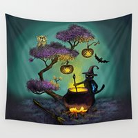 halloween Wall Tapestries featuring Halloween by Anna Shell