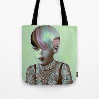 barbie Tote Bags featuring BARBIE ILLUSTRATED by Julia Lillard Art