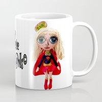 supergirl Mugs featuring Kara Zoe-El ~ Supergirl by Chiara Venice Art Dolls