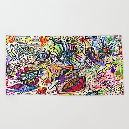 Watercolor pencil doodle Beach Towel