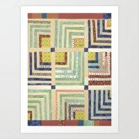 Vintage Quilted Chevron Stripes Art Print