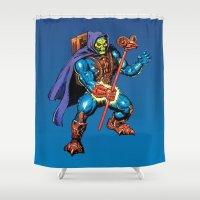 skeletor Shower Curtains featuring Laser Light Skeletor by CromMorc