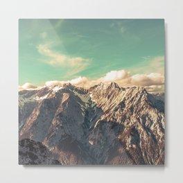 Vintage mountain with teal sky Metal Print