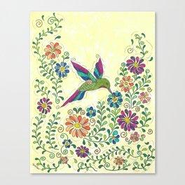 In The Garden Hummer Canvas Print