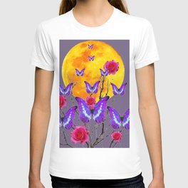 PURPLE COLOR  FULL MOON PURPLE BUTTERFLIES T-shirt