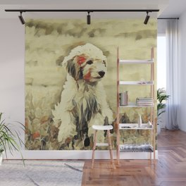 watercolor golden doodle Dog Portrait Wall Mural