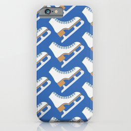 Ice Skating Pattern (Blue/White) iPhone Case