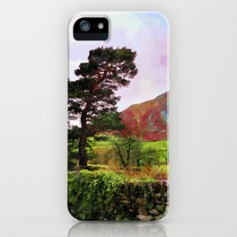 Pine and dry stone wall at Grasmere, Lake District, England iPhone Case