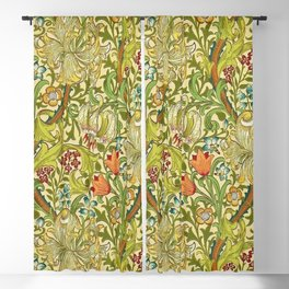 William Morris Calla Lilies, Tulips, Daffodils, & Red Poppies Textile Print Blackout Curtain